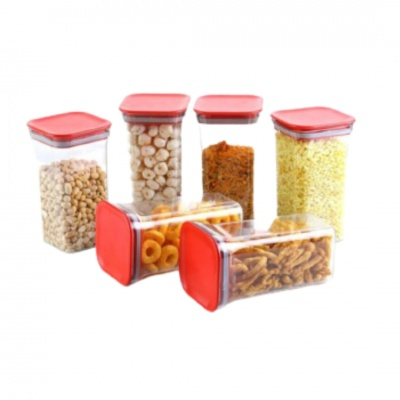 Unbreakable Air Tight Kitchen Storage Container for Rice | Dal | Atta, BPA-Free, Flour | Cereals | Snacks | Stackable | Modular, 1100 Ml Set 6 (Red)