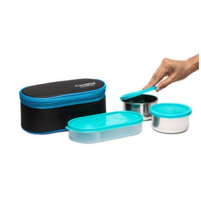 Trendy Excotic Black-Blue 3 Black Containers Lunchbox 650 ml
