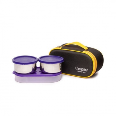 Excotic Black-Yellow 3 Purple Containers Lunchbox 650 ml